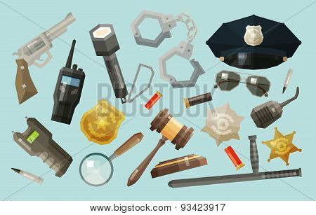 police, security icons set. collection of elements - baton, flashlight, gun, pistol, shocker, magnif