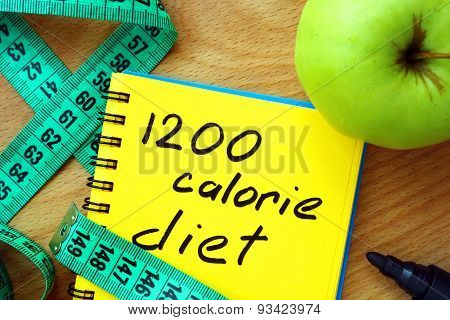 Notepad with 1200 calorie diet