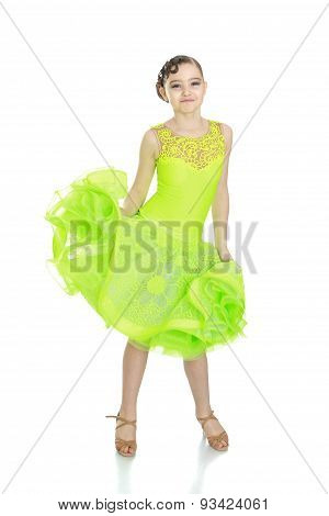 teenage girl in a beautiful dance dress