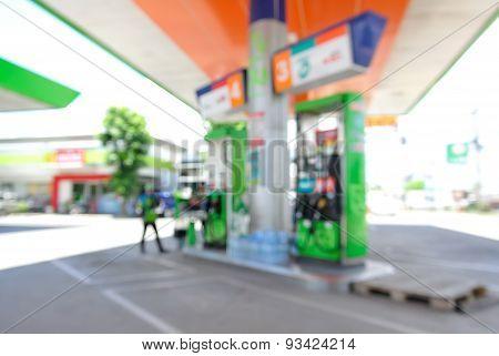 Blur Or Defocus Background Of Petrol Station