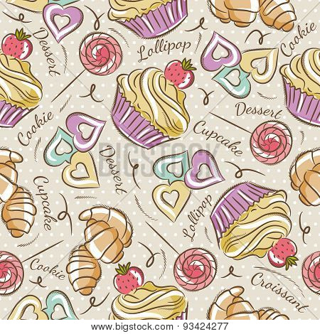 Background With Cupcake, Croissant And Cookie.