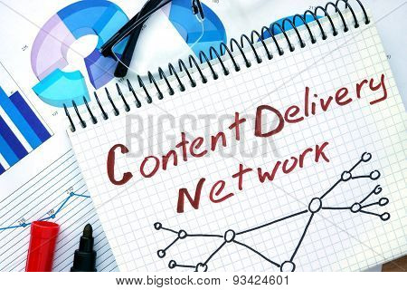 Notepad with words Cdn  Content Delivery Network.