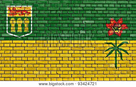 Flag Of Saskatchewan Painted On Brick Wall