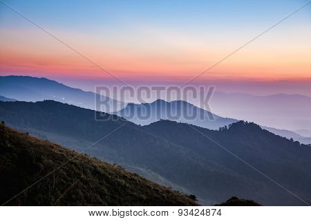 Sunset Scene At Doi Pha Tang In Chiangrai,thailand