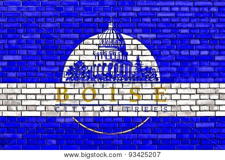 Flag Of Boise Painted On Brick Wall