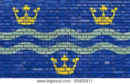 Flag Of Cambridgeshire Painted On Brick Wall