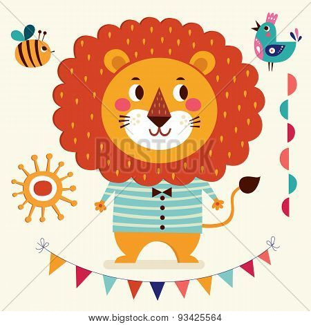 Vector Illustration In Cartoon Naive Style. Lovely Cute Lion