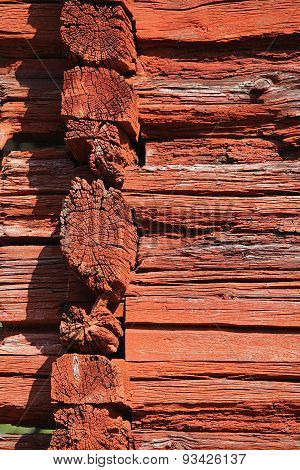 Red Log Wall.