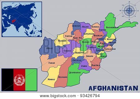 Map, Flag and Location of Afghanistan