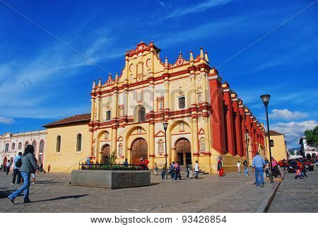 Main Square In San Cristobal, Mexico With Cathedral