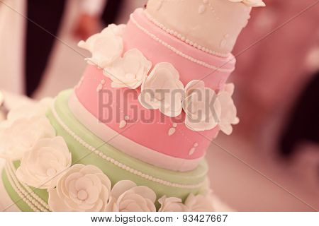 Pink And Mint Wedding Cake