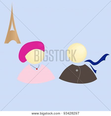 Girl and boy in Paris, vector illustration