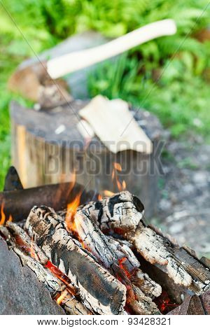 Firewood Burning In Rusty Brazier Close Up