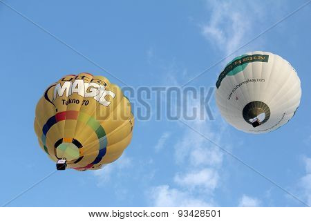 Hot Air Ballon Flying To The Sky