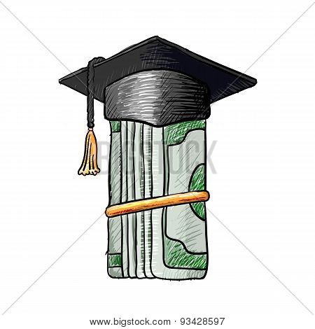 Graduation Cap On Money