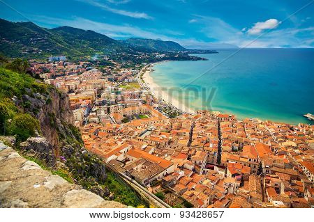 Orange Houses Near The Sea, Cefalu