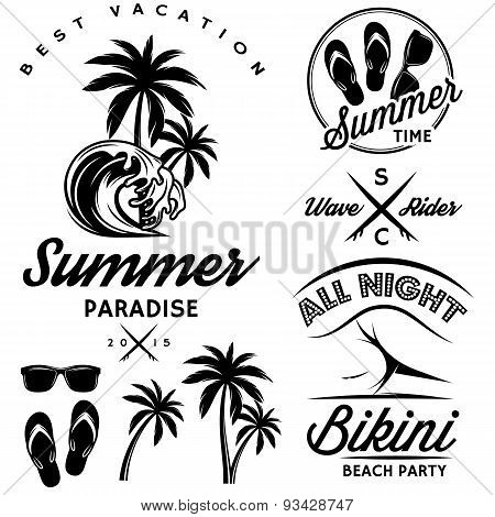 Set For Design To Topic Summer With Bikini Party, Flip-flops