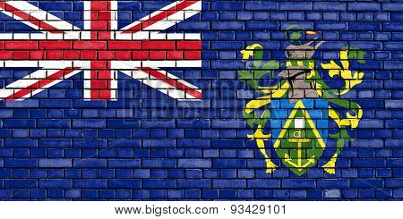 Flag Of Pitcairn Islands Painted On Brick Wall