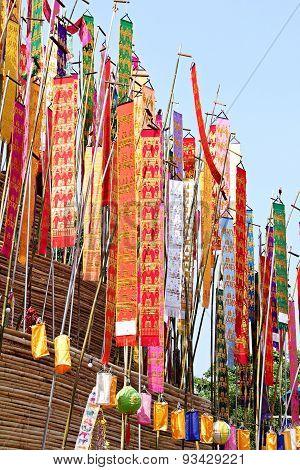 Colorful Flag Call Tung Hang On Sand Pagoda