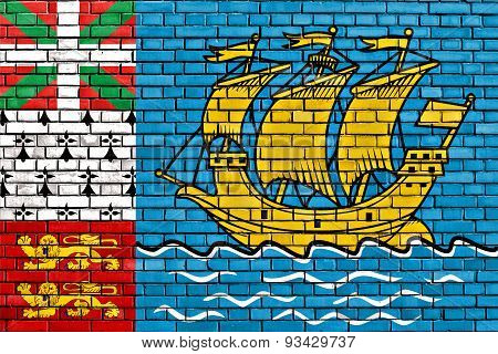 Flag Of Saint Pierre And Miquelon Painted On Brick Wall
