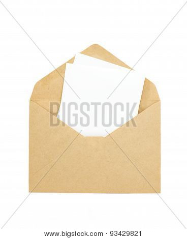 White paper note and brown envelope isolated on white