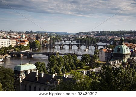 Panorama Of A Prague's Masterpiece Bridge