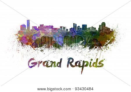 Grand Rapids Skyline In Watercolor