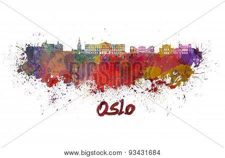 Oslo Skyline In Watercolor