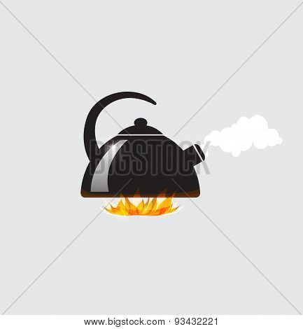 Teapot Boiling On The Fire