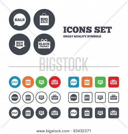 Sale speech bubble icons. Buy now arrow symbol