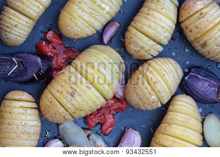 Baked concertina potatoes.