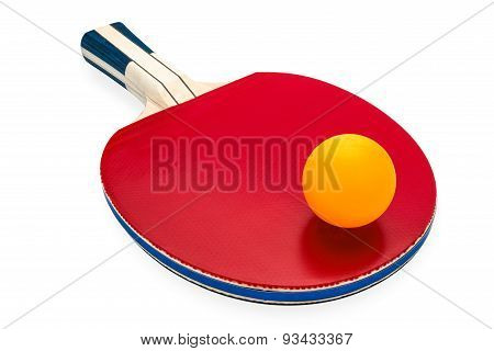 Rackets And Ping Pong Ball For Playing Table Tennis On White Isolated Background With Clipping Path.