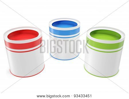 Banks, Green, Red And Blue Colors For Painting House.