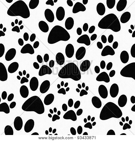 Black And White Dog Paw Prints Tile Pattern Repeat Background