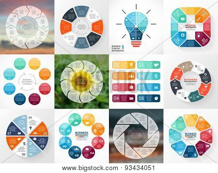 Circle arrows infographics set. Template for cycle diagram, graph, presentation and round chart. Bus