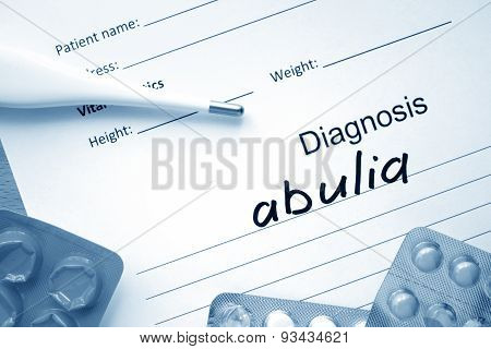 Diagnostic form with diagnosis abulia.