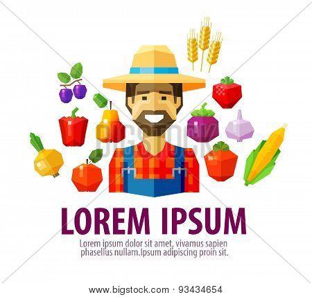 farmer vector logo design template. harvest or agriculture, farming icon