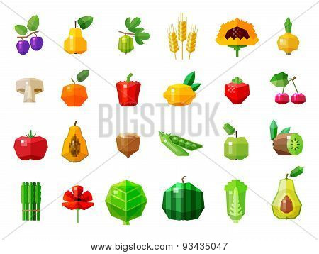fresh food. fruits and vegetables set icons