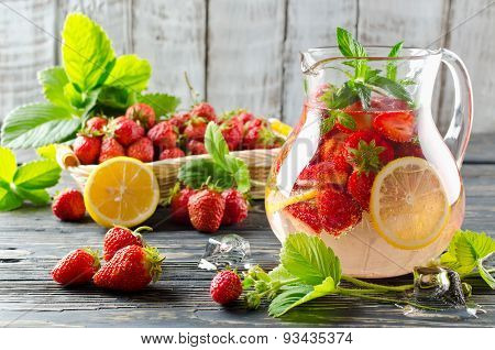 Fruit Smoothie With Strawberries And Lemon