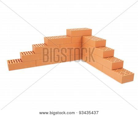 Building brick wall isolated on white background with shadows.