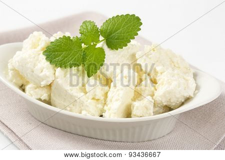 fresh curd cheese and mint in white oval bowl