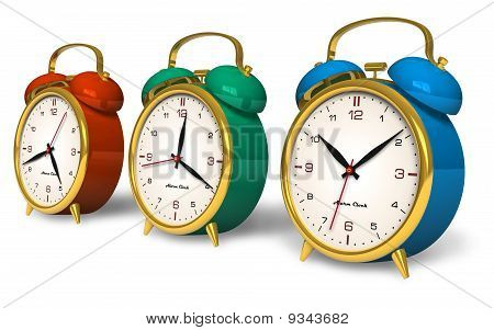 Color vintage alarm clocks