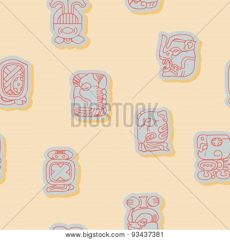 Seamless background with Maya calendar named months and associated glyphs