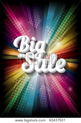 Big Sale banner on rainbow background. Vector illustration