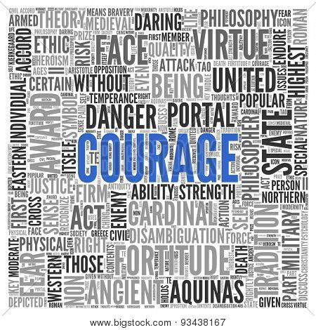 Close up COURAGE Text at the Center of Word Tag Cloud on White Background.