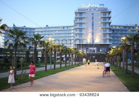 SOCHI, RUSSIA - JUL 25, 2014: Facade of the Hotel Radisson Blu Paradise Resort and Spa in the evening