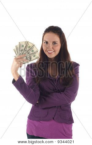 Pretty girl with dollars (on white background)