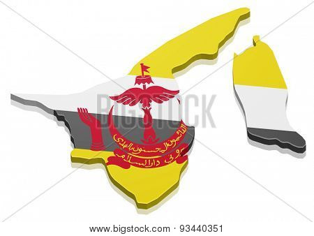 detailed illustration of a map of Brunei with flag, eps10 vector