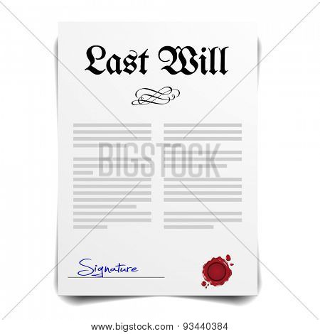 detailed illustration of a Last Will Letter, eps10 vector