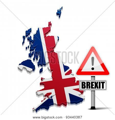 detailed illustration of a 3D Map of Great Britain with Brexit Sign, eps10 vector